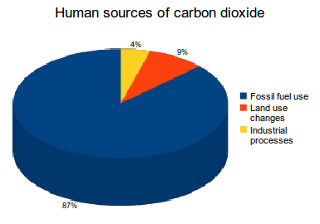 Human sources of carbon dioxide (CO2) emissions, IEA. Almost all human CO2 emissions come from the combustion of fossil fuels.